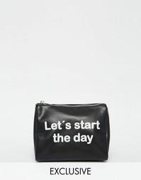 Косметичка с принтом Lets Start The Day Monki - Черный
