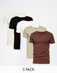 Комплект из 5 футболок слим с овальным вырезом ASOS, скидка 20%