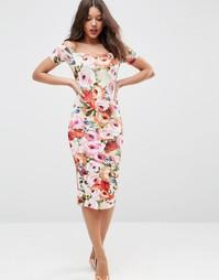 Платье миди с открытыми плечами, короткими рукавами и цветочным принто Asos