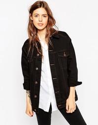 Черная джинсовая куртка‑герлфренд с контрастными строчками ASOS