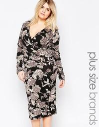 Платье миди с запахом спереди и цветочным принтом Club L Plus - Черный