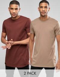 Набор из 2 длинных футболок с круглым вырезом ASOS - СКИДКА 15%
