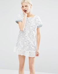 Платье-футболка в бретонскую полоску с кружевной отделкой I Love Frida