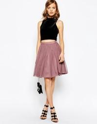 Многослойная юбка мини для выпускного ASOS - Пыльно-розовый