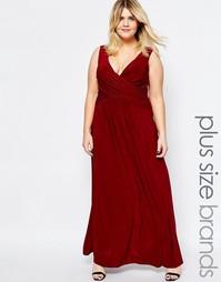 Платье макси размера плюс с запахом спереди Goddiva Plus - Красный