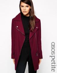 Шерстяное байкерское пальто с карманами ASOS PETITE