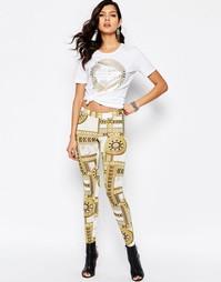 Эластичные леггинсы с фирменным принтом Versace Jeans - Белый