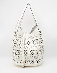 Пляжная сумка с вырезным узором и тканевой косметичкой Nali - Белый