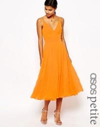 Платье миди с плиссировкой ASOS PETITE - Оранжевый