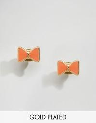 Позолоченные серьги-гвоздики с бантиком Nylon - С золотым покрытием
