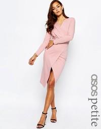 Платье-футляр миди с драпировкой спереди ASOS PETITE - Телесный