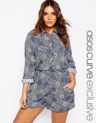 Синий комбинезон-рубашка в полоску с цветочным принтом ASOS CURVE