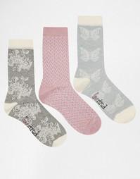 3 пары носков (кремовый, серый с цветочным принтом) Lovestruck