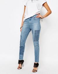 Укороченные джинсы скинни в стиле пэчворк Northmore - Синий