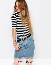 Длинная футболка с полосками и разрезами по бокам Glamorous - Мульти
