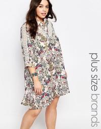 Удлиненное платье‑футболка с кружевными вставками Alice & You - Мульти