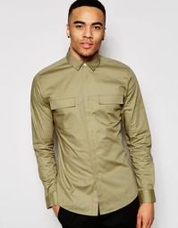Рубашка с длинными рукавами в стиле милитари ASOS - Кэмел