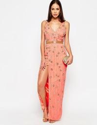 Платье макси с разрезом Virgos Lounge Cookie - Peach