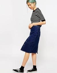 Джинсовая юбка с завышенной талией Monki - Умеренный синий