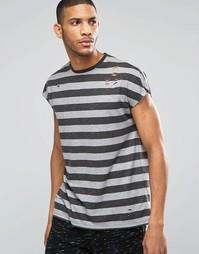Oversize-футболка без рукавов в полоску ASOS