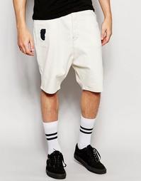 Рваные джинсовые шорты с заниженным шаговым швом ASOS - Экрю