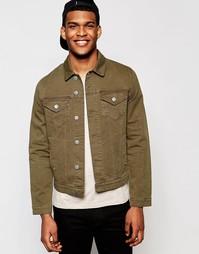 Зауженная джинсовая куртка цвета хаки ASOS - Хаки