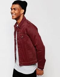 Бордовая джинсовая куртка зауженного кроя ASOS - Burgundy