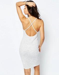 Платье-сорочка в рубчик с перекрестной спинкой ASOS - Серый