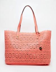 Пляжная сумка с вырезным узором и тканевой косметичкой Nali - Fuschia