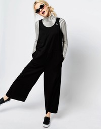 Комбинезон без рукавов с широкими штанинами Monki - Черный