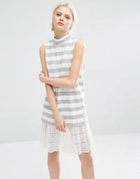Полосатое платье без рукавов с высокой горловиной и кружевной отделкой I Love Friday