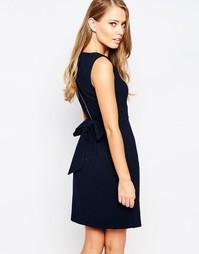 Платье миди с разрезом спереди и завязкой сзади Closet - Темно-синий