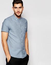 Синяя саржевая рубашка с короткими рукавами ASOS - Синий