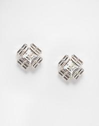 Квадратные серьги‑гвоздики с кристаллами Swarovski от Krystal