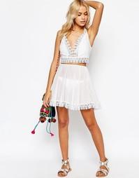 Короткая пляжная юбка с цветочной отделкой ASOS Co-ord - Белый