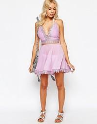 Короткая пляжная юбка с цветочной отделкой ASOS Co-ord - Сиреневый