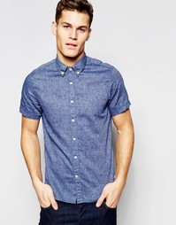 Синяя рубашка слим из шамбре с короткими рукавами Tommy Hilfiger
