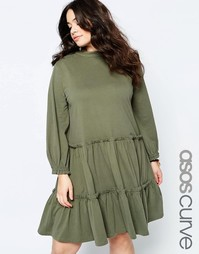 Платье с присборенной юбкой и длинными рукавами ASOS CURVE - Хаки