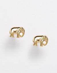 Серьги-гвоздики со слониками Orelia - Золотой