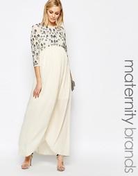 Платье макси для беременных с цветочным узором и отделкой Maya Materni
