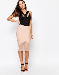 Облегающая юбка-карандаш с сетчатым подолом Missguided - Телесный
