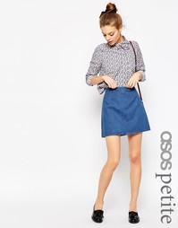 Синяя джинсовая трапециевидная мини-юбка ASOS PETITE - Синий
