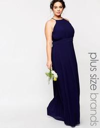 Плиссированное платье макси размера плюс TFNC WEDDING - Темно-синий