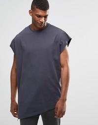 Свободная трикотажная футболка без рукавов на молнии ASOS - Ebony