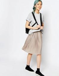 Плиссированная юбка миди Monki - Серый меланж