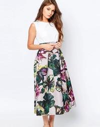 Платье миди 2 в 1 с цветочным принтом на юбке Closet