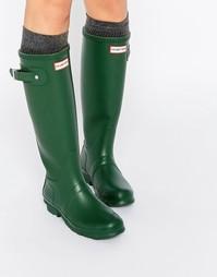 Высокие зеленые резиновые сапоги с регулируемым ремешком Hunter Origin