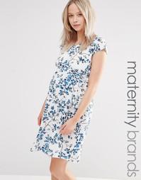 Цельнокройное платье для беременных Mamalicious Lena - Снежно-белый Mama.Licious