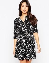 Платье с пестрым принтом и рукавами 3/4 Yumi - Черный