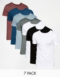 Комплект из 7 футболок слим с круглым вырезом ASOS, СКИДКА 24%